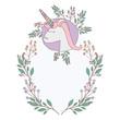 unicorn with flowers wreath decoratives vector illustration design
