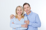 Middle aged Couple portrait isolated on white background. - 216034424