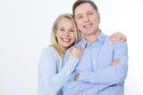 Middle aged Couple portrait isolated on white background. - 216034485
