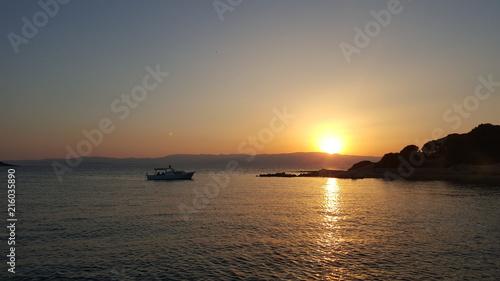 Fotobehang Zee zonsondergang sea, marina, water, boat,