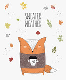 Vector line drawing fox in a sweater with slogan about autumn