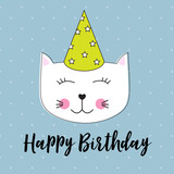 Happy Birthday Background wuth Little Cute Cat Vector Illustration