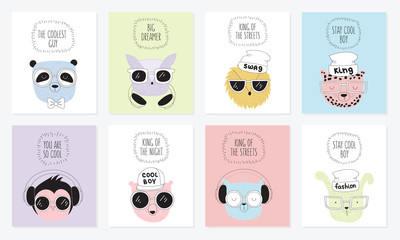 Vector collection of postcards with line drawing hipster animals with cool slogan