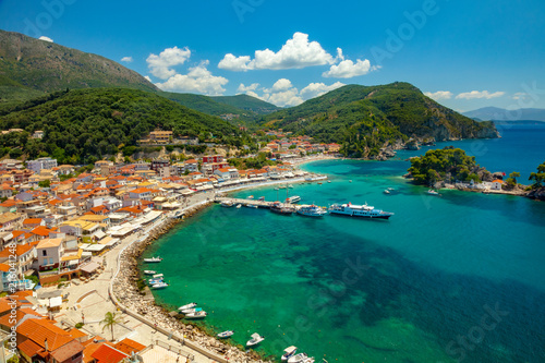 Parga town panoramic view. Popular tourist destination of Greece.