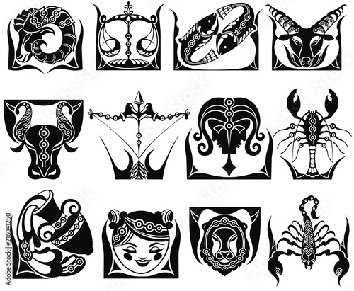 Graphic signs of the Zodiac © ksysha