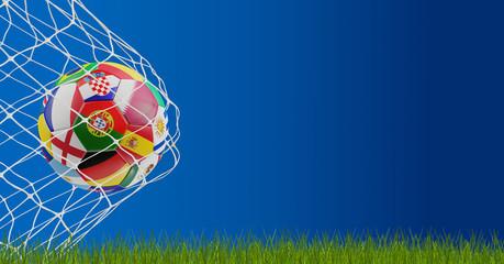soccer ball in goal 3d-illustration