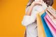 Leinwandbild Motiv Young woman with shopping bags