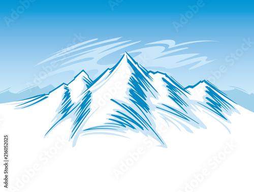 Canvas Wit Mountain range