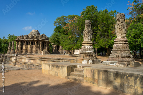 Foto Murales Front view of Modhera Sun Temple, one of the Heritage site built in 1026 AD located near Ahmedabad, India.