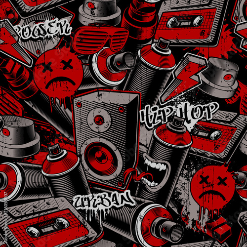 In de dag Graffiti Graffiti seamless pattern