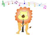 動物が楽器を使って演奏している。