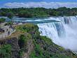 The park at the edge of the American Falls at Niagara Falls