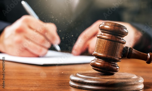 Fototapeta Gavel judge with lawyer working