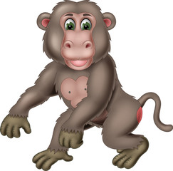 cute monkey cartoon standing with smile and waving © jihane37