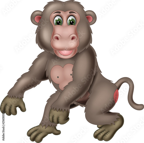 Fototapeta cute monkey cartoon standing with smile and waving