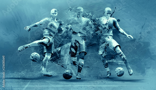 Foto Spatwand Hoogte schaal abstract soccer players