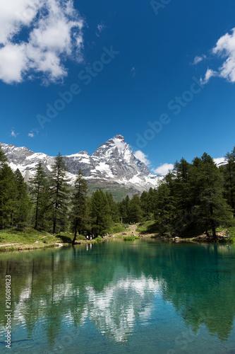 Alpine landscape with mount Matterhorn, Breuil-Cervinia, Italy.