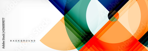 Vector circular geometric abstract background - 216089877
