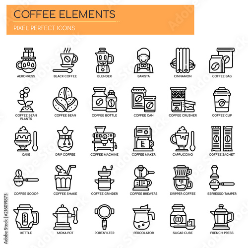 Coffee Elements , Thin Line and Pixel Perfect Icons