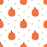 Vector seamless pattern background with cute cartoon pumpkins and seeds for autumn, fall harvest design. - 216096444