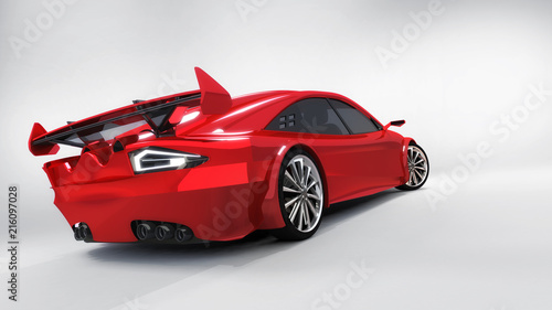 red isolated car back closeup on white background - 216097028