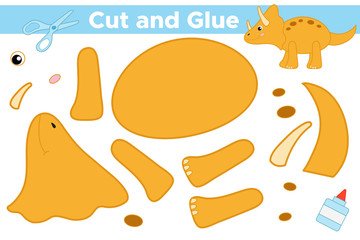 Educational paper game for children. Create cartoon dinosaur Triceratops. Use scissors and glue to create the applique. Vector illustration