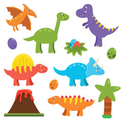 Cute flat dinosaurs set. Cartoon pterodactyl, stegosaurus, spinosaurus, triceratops, tyrannosaurus rex, brachiosaurus, palm, dinosaurs eggs and volcano. Vector illustration.