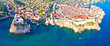Leinwanddruck Bild - Historic city of Dubrovnik aerial panoramic view