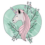 frame circular decorative with unicorn and flowers vector illustration design - 216097618