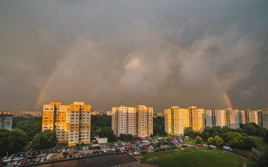 Rainbow at Sunset over Residential District Petrzalka, Bratislava, Slovakia.