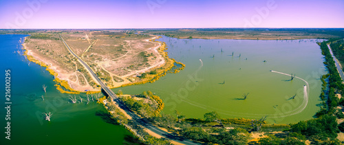 Aluminium Purper Aerial panorama of Loch Luna game reserve in Riverland, South Australia
