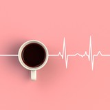 Top view of a cup of coffee in the form of heart rhythm isolated on pink background, Coffee concept illustration, 3d rendering