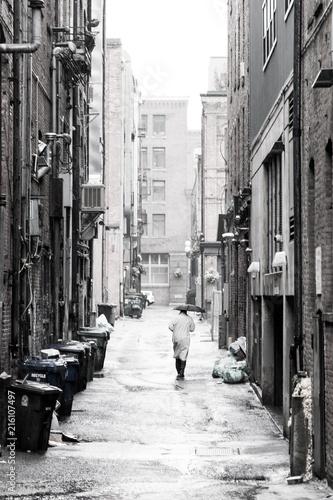 Aluminium Smalle straatjes Alley in seattle, pioneer square