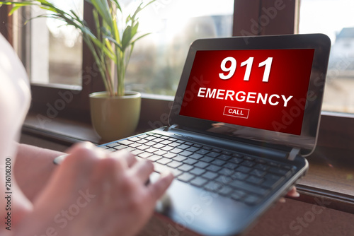 Emergency concept on a laptop screen