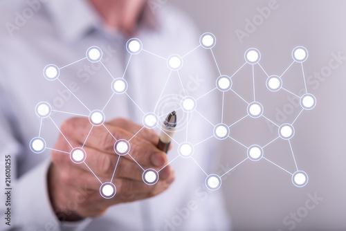 Man touching a virtual network