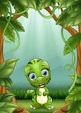 Małe dinozaury uśmiechają się żyjąc w dżungli
