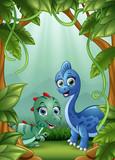 Małe dinozaury szczęśliwe żyjące w dżungli