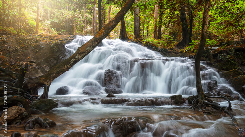 Beautiful waterfall in tropical forest at National Park - 216109222