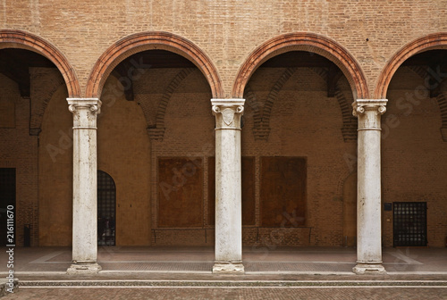 Arcade in Castle of St. Michael - Castello Estense in Ferrara. Italy