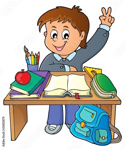 Canvas Voor kinderen Boy behind school desk theme image 1