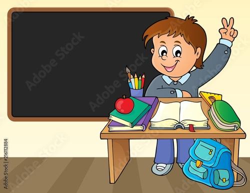 Canvas Voor kinderen Boy behind school desk theme image 2