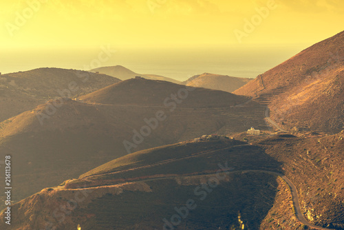 Canvas Zwavel geel Mountains hills Mani landscape, Greece.