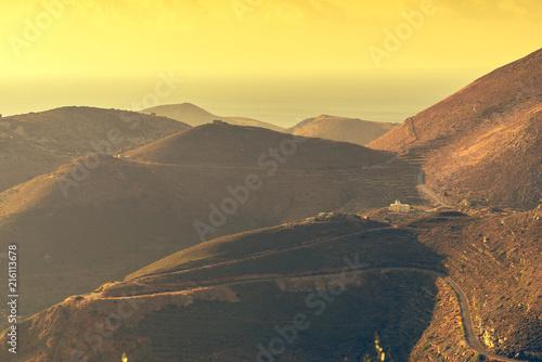 Foto Spatwand Zwavel geel Mountains hills Mani landscape, Greece.