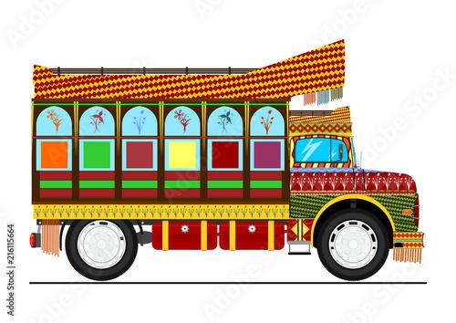 Fotobehang Auto Jingle truck. Retro cartoon Indian decorated truck. Flat vector.