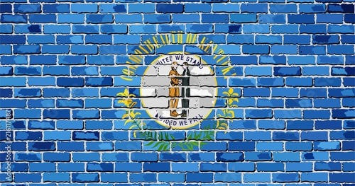 Flag of Kentucky on a brick wall - Illustration, The flag of the state of Kentucky on brick background, Kentucky flag in brick style