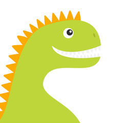 Dinosaur face body. Cute cartoon funny dino baby character. Flat design. Green and orange color. White background. Isolated