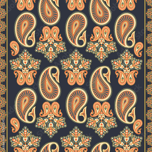 Paisley seamless pattern. Vintage background in batik style - 216122047