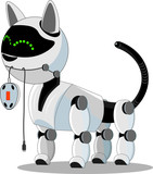Cat robot holds a computer mouse. High-tech cyborg, smart and friendly.