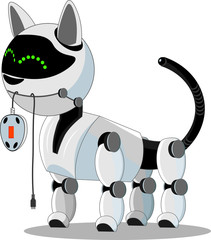 Cat robot holds a computer mouse. High-tech cyborg, smart and friendly. © Александр Колесников