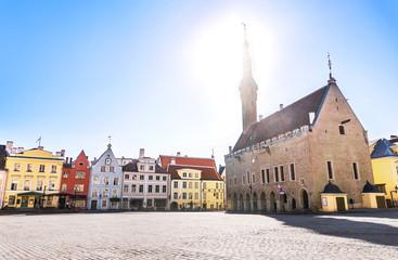 Tallinn old town view in Town Hall Square (Raekoja Plats). The beautiful capital city of Estonia in summer.
